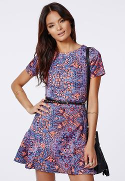 Missguided - Cady Skater Dress Blue Print