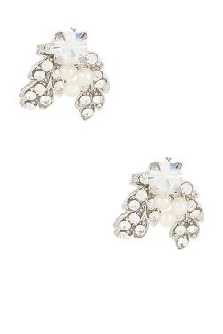 Nina Jewelry - Abbey Crystal & Pearl Leaf Cluster Stud Earrings