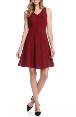 Karen Kane  - Bonded Lace V-Neck Fit & Flare Dress
