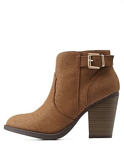 Charlotte Russe - Back-Belted Chunky Heel Booties