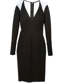 Donna Karan  - Sheer Panel V-Neck Dress