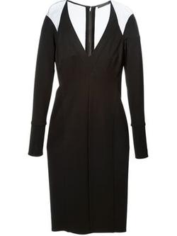 Donna Karan  - Sheer Panel V-Neck Dress