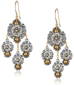 Miguel Ases - Pyrite and Gold Small Chandelier Drop Earrings