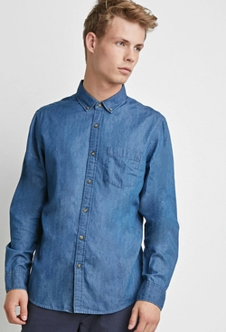 21 Men - Button-Collar Chambray Shirt