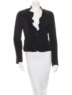 Elizabeth and James - Silk Ruffle Lapel Blazer