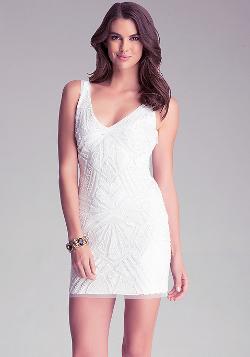 Bebe - Embellished V Neck Dress