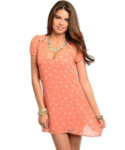 2LUV - Open Back Polka Dot Chiffon Dress