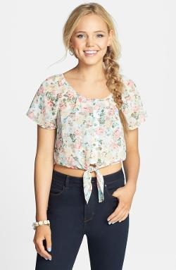 PPLA - Floral Print Tie Front Cage Back Top
