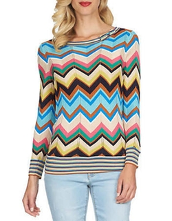 Cece By Cynthia Steffe - Chevron-Striped Crewneck Sweater