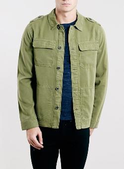 Topman - Khaki Military Shacket Jacket