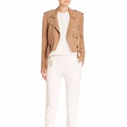 Pole Ralph Lauren - Cropped Suede Moto Jacket
