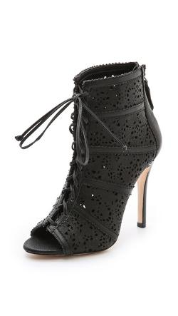 Alice + Olivia - Gale Laser Cut Lace Up Booties