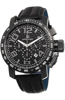 Joshua & Sons Watches - Men's Chronograph Tachymeter Leather Strap Watch