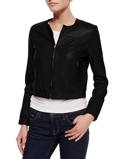 Bagatelle - Cropped Leather Bomber Jacket