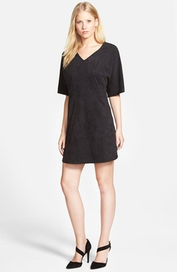 Vince Camuto - Faux Suede V-Neck Shift Dress