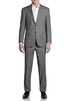 Saks Fifth Avenue Black - Classic-Fit Woven Wool Suit