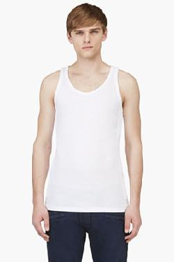 BALMAIN - WHITE QUILTED PANEL TANK TOP