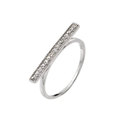 Shop 4 Silver - Clear Cz Bar Ring
