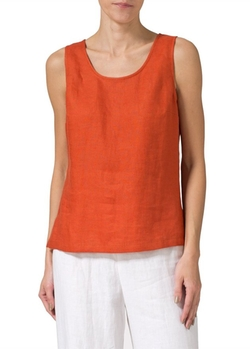 Vivid Linen - Linen Sleeveless Short Tank Top
