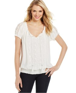 Style & Co.  - Lace Smocked Peasant Top