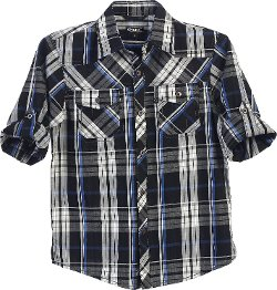 Gioberti  - Boys Long Sleeve Roll Up Black / Blue Plaid Checked Shirt