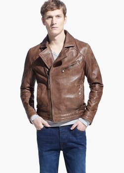 Mango - Leather Biker Jacket
