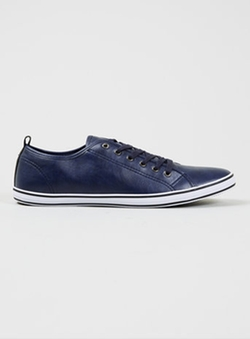 Topman - Collider  Navy Leather Look Sneaker Shoes