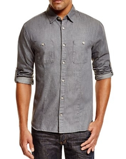 John Varvatos Star USA - Chambray Slim Fit Button Down Shirt