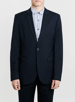Topman - Navy Slim Suit Jacket