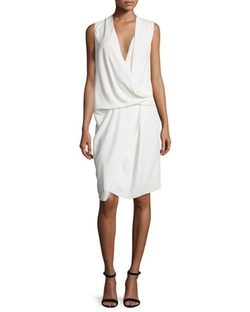 Camilla and Marc  - Sleeveless V-Neck Draped Asymmetric Dress