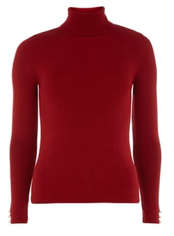 Dorothy Perkins - Red Button Cuff Roll Neck Top