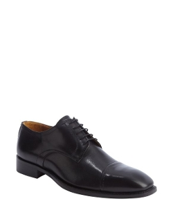 Schiano - Black Leather Cap Toe Lace Up Oxford Shoes