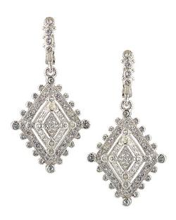 Judith Ripka  - Medium Deco Estate White Sapphire Dangle Earrings