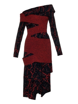 Proenza Schouler - Scribble-Print And Flocked Dress