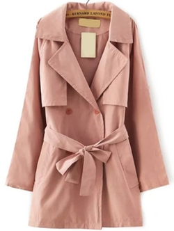 ROMWE - Lapel Double Breasted Belt Pink Coat
