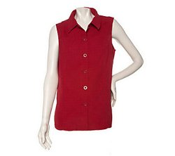 Denim & Co. - Button Front Laser Cut Vest
