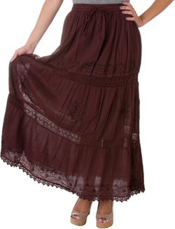 Sakkas - Solid Embroidered Maxi Skirt