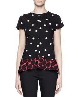 Proenza Schouler - Ruffle-Hem Dot-Print T-Shirt