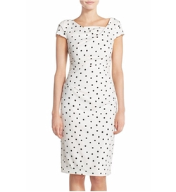 Adrianna Papell - Polka Dot Crepe Sheath Dress