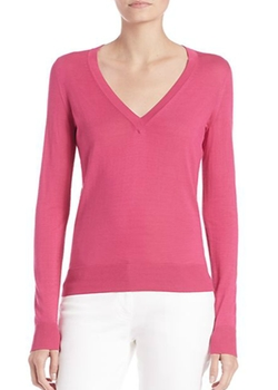 Michael Kors Collection  - Silk V-Neck Sweater