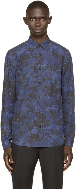 Burberry - Navy Camo Print Shirt