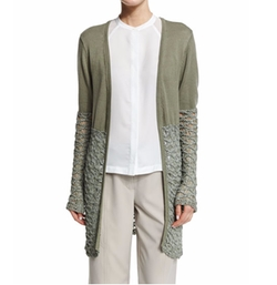 Neiman Marcus  - Textured-Block Duster Cardigan