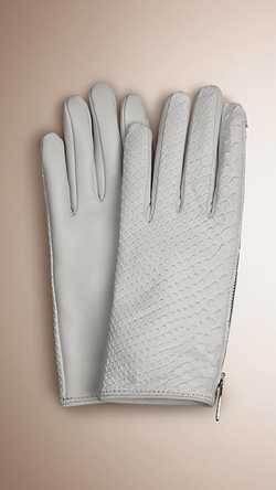 Burberry - Zip Detail Python and Leather Gloves
