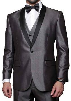 Bonanza - MENS GRAY SHARKSKIN 3 PIECE 1 BUTTON SHAWL COLLAR DESIGNER SUIT TUXEDO