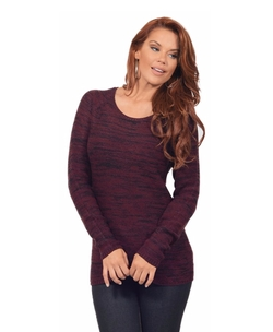 Hot From Hollywood - Scoop Neck Long Sleeve Heathered Cashmerlon Sweater