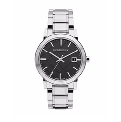 Burberry - Check-Dial Stainless Steel Watch