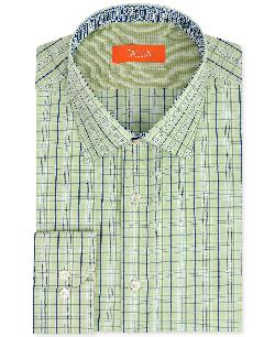 Tallia  - Slim-Fit Green Plaid Dress Shirt