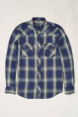 Urban Outfitters - Salt Valley Shadow Plaid Western Button-Down Shirt