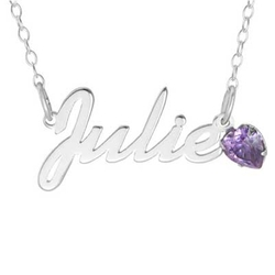 Zales - Heart-Shaped Simulated Birthstone Script Name Necklace