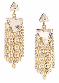 Dannijo - Candice Crystal & Chain Tassel Drop Earrings